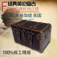 复古木盒带锁实木质木箱收纳盒储物整理樟木大木箱子小木箱木盒子 如图