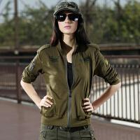 户外女款立领开衫拉链运动修身夹克防风保暖纯色军迷外套 军绿色