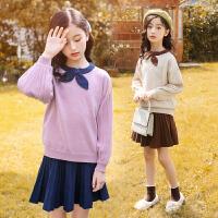 女童套装冬装新款中大童儿童装针织毛衣两件套裙