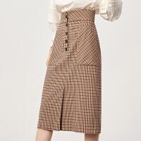 【超值一口价:219】LILY女装时髦复古格子高腰直筒裙开衩过膝半身裙