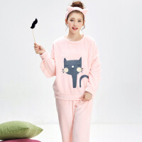 珊瑚绒睡衣女士秋冬季加厚法兰绒保暖长袖套装可爱少女韩版家居服 71972#粉色-送发带