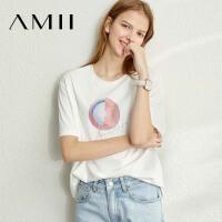 【券后到手价:69.9元】Amii时尚莫代尔印花短袖T恤女2020春季新款潮ins白色宽松休闲上衣