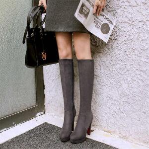 O'SHELL欧希尔新品133-X60欧美磨砂绒面高跟女士长筒靴