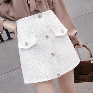 AGECENTRE 2018春装新款 春季春天新款韩版女装扣子扭扣高腰包臀a字裙半身裙短裙