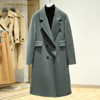 双面呢大衣女冬装新款 韩版双排扣中长款百搭休闲毛呢外套