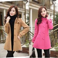 2017秋冬季粗毛呢女加厚保暖女毛呢外套修身韩版中款长袖呢子大衣