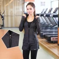 秋冬新款瑜伽服健身运动训练三件套透气女士运动跑步套装速干排汗透气舒适 深灰色