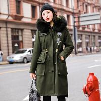 【年货节 直降到底】女士棉衣中长款冬季新款韩版修身显瘦束腰绳学生大码加厚派克服棉服
