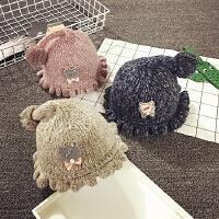 可爱女宝宝帽子秋冬针织盆帽婴儿帽子0-3-6个月渔夫帽儿童毛线帽