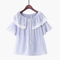 2018夏季新款韩版甜美小清新蕾丝荷叶边上衣圆领喇叭袖雪纺娃娃衫