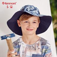 儿童帽子9-13岁男孩夏天遮阳帽防晒可折叠大沿渔夫帽户外迷彩军帽4725