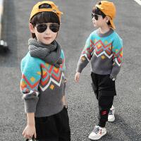 男童毛衣套头儿童拼接水貂绒洋气秋冬装打底衫