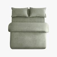当当优品色织四件套 纯棉日式水洗磨毛床品 双人1.5米床 灰绿