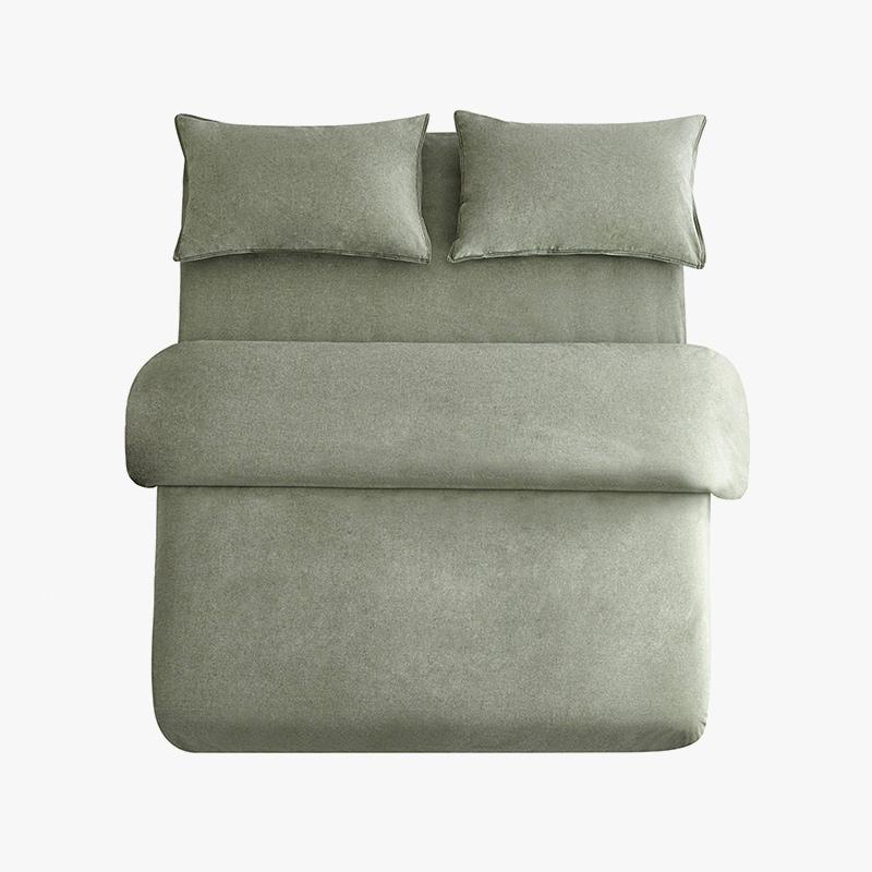 当当优品色织四件套 纯棉日式水洗磨毛床品 双人1.5米床 灰绿当当自营 MUJI制造商代工