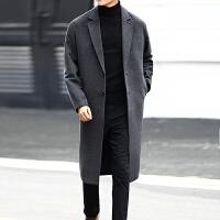 秋冬季妮子大衣男士中长款韩版宽松大码风衣加厚毛呢外套男青年潮
