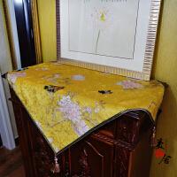 中式花鸟桌布 冰箱盖布 床头柜盖布布艺餐桌布台布梳妆台罩 黄色