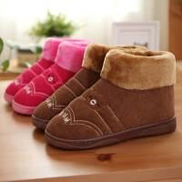 拖鞋冬男士加大码棉拖鞋包跟保暖家居拖鞋女防滑厚底室内毛绒棉拖