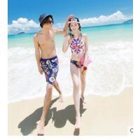 情侣泳装分体裙式泳衣女男舒适沙滩裤三件套钢托聚拢小胸温泉游
