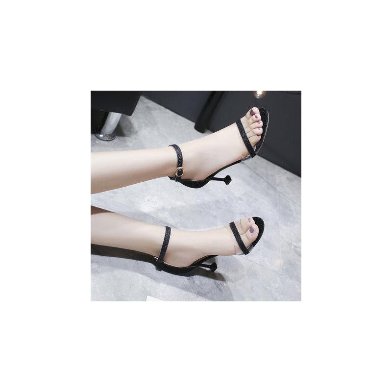 户外细高跟透明凉鞋女仙女风一字带时尚百搭配裙子的鞋子