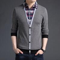 秋装男士衬衫领毛衣男韩版假两件潮流长袖T恤个性薄款打底针织衫 3004黑色 M