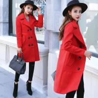 毛呢外套年秋季纯色韩版气质优雅修身显瘦流行舒适中长款风衣