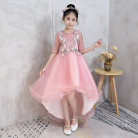 儿童礼服公主裙女童小主持人拖尾蓬蓬纱晚礼服女孩生日钢琴演出服 粉红色
