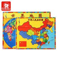 拼图儿童节礼物特宝儿木质中国地图世界拼图儿童宝宝1-2-3-4-5-6周岁玩具益智启蒙早教拼图 儿童 中国地图+世界地