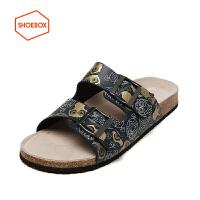 SHOEBOX/鞋柜夏季新款休闲凉拖鞋软木底防滑沙滩男鞋