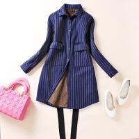2018秋冬装新款纯棉加绒保暖衬衫女长袖条纹显瘦外穿衬衣休闲外套 蓝条