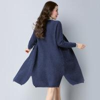秋冬新品针织毛衣 长款纯色羊毛大衣外套 显瘦大码女式开衫