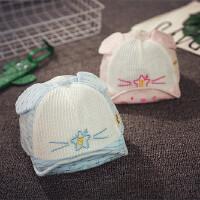 夏季婴儿帽子3-6-个月宝宝帽子薄款网眼棒球帽男女童鸭舌帽遮阳