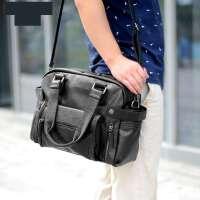男士商务公文包横款商务男士单肩男包斜挎包休闲手提包包包韩版运动文件横款 黑色-舒腊纹皮料-