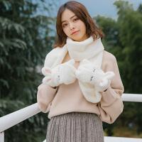 韩版软妹学生冬季保暖可爱少女心毛绒闪亮卡通萌兔耳手套围巾一体