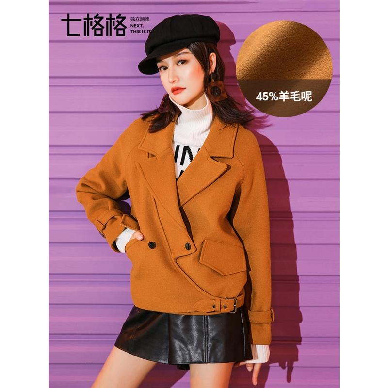 焦糖色羊毛呢子外套短款2019春冬新款韩版宽松学生小个子呢大衣女