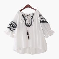 2018夏季新泡泡短袖波西米亚刺绣雪纺衫娃娃衫宽松大码棉流苏衬衫