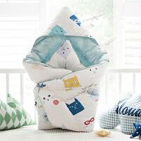 韩国婴儿抱被纯棉新生儿包被春秋冬加厚被子夏季薄款抱毯宝宝用品 蓝白色 春秋款