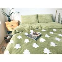 家纺日系简约短毛绒珊瑚绒四件套韩式田园纯色加厚保暖床上用品秋冬季