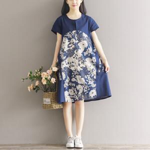 RANJU 然聚2018女装新品新款春夏大码女装花色拼接棉麻复古印花短袖连衣裙