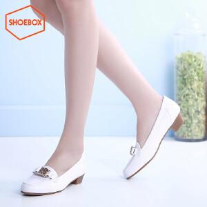 达芙妮旗下SHOEBOX/鞋柜圆头低跟休闲单鞋 方跟粗跟方扣女鞋子