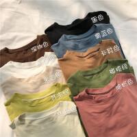 韩版圆领套头短袖中长款打底上衣宽松显瘦百搭T恤女夏