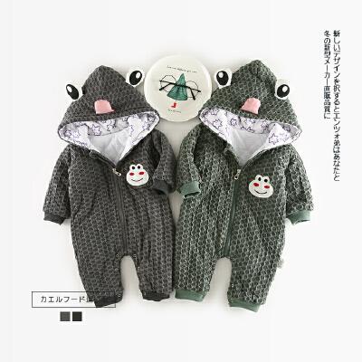 81 冬季新款婴幼儿男女童小青蛙带帽爬服 发货周期:一般在付款后2-90天左右发货,具体发货时间请以与客服协商的时间为准