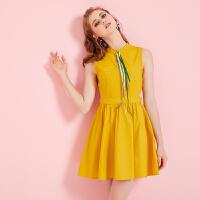 黄色无袖连衣裙女夏装2018新款韩版时尚收腰小心机露腰a字裙子棉 黄色