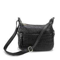 斜挎包女韩版新款鳄鱼纹单肩包斜跨小包包中年女包妈妈包d 黑色