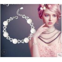 韩版甜美女生镶钻镂空手链S925银珍珠可调节手链手镯手饰银饰
