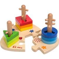 木质宝宝积木儿童1-2-3周岁玩具形状三套柱配对
