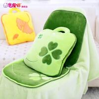 植物午睡枕头汽车抱枕被子两用靠垫被一体空调被靠枕珊瑚绒毯