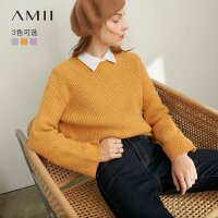 【券后�A估�r:103元】Amii�O��W院�L洋�馓最^�奶�{毛衣女2020冬新款��松初�倜���衫