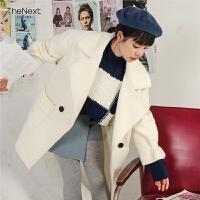 毛呢外套中长款韩国2019秋冬新款韩版学生妮子白色加厚呢子大衣女