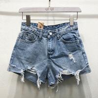 韩国ulzzang2018春装新款磨破烂百搭高腰阔腿牛仔裤女时尚短裤潮