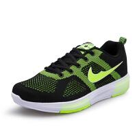 运动鞋男士跑步鞋男鞋网面休闲潮鞋板鞋透气DEJD-1656 黑荧光绿 39